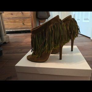 PreOwned Authentic Prada suede open toe bootie